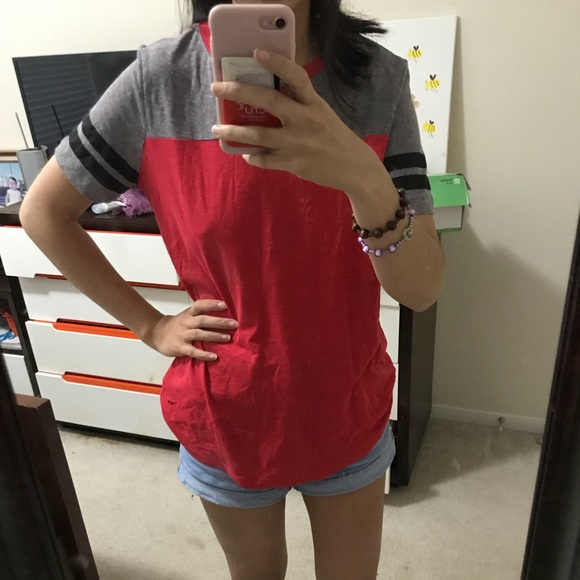 PINK Victoria's Secret Tops - red and gray shirt from Pink.